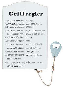 Trätavla med öppnare - Grillregler