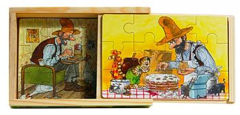 Pettson & Findus Träpussel x 4 i låda