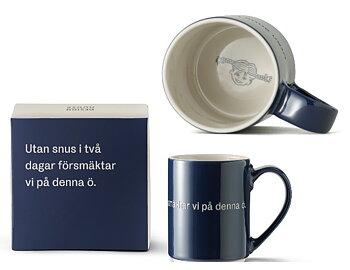 """Astrid Lindgren Citat Mugg - Utan snus i två dagar försmäktar vi på denna ö"""""""