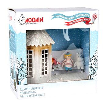 Moomin Winter Bath House including 3 figures