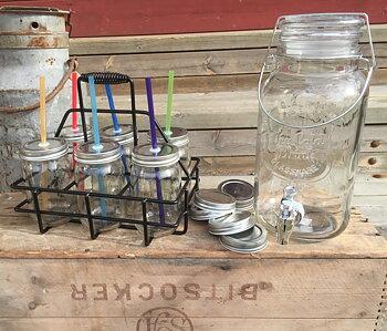 Jars & Lids (Glasburkar, Lock, Sugrör + Korg)