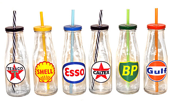 Glasflaska med sugrör (Esso, Gulf, Texaco, Caltex, Shell, BP)
