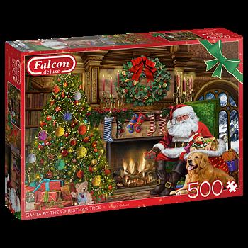 Santa  by the Christmas Tree 500 Bitar Jumbo