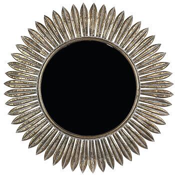 Spegel Rund Blad och Blomma Antikgold