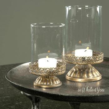 Ljuslyktor Romantique Antiquegold - Set om 2 st
