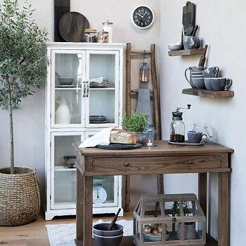 Skänk / Bord med låda och hylla - Naturfärgad