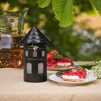 Piège à guêpes posé sur une table à coté d'une tarte aux fraises