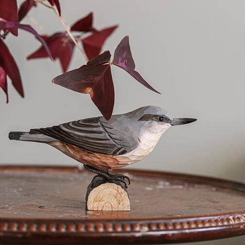 bois de collection Sittelle torchepot miniature solid bronze Jardin Oiseau Sculpture