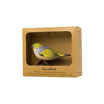 DecoBird Gråryggig Glasögonfågel, handsnidad dekorationsfågel i trä målad förhand med miljövänlig färg, i sin presentförpackning med fönster