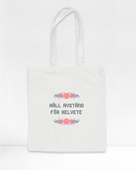 """Håll avstånd!"" - Cross stitch kit Tote bag"