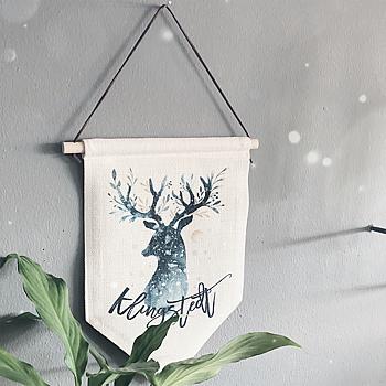 Tygflagga - Deer Christmas