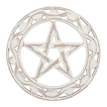 Vit Pentagram Väggkonst - 30cm