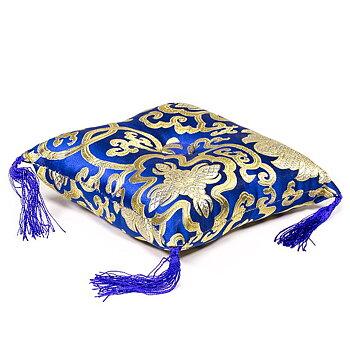 Sjungandeskål kudde blå med blomdesign - 1cm