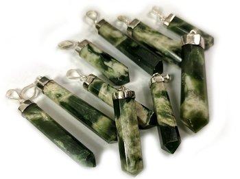 Nefrit Jade ( Marbeled) , hängen i Sterling silver