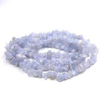 Blå Kalcedon ( Bandagat)  Chip Halsband