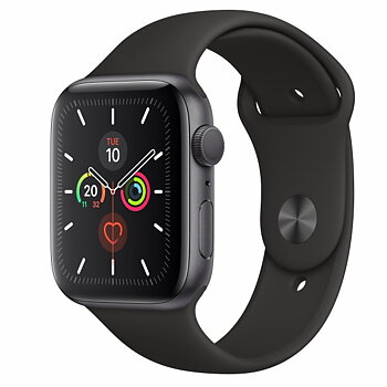 Apple Watch Series 5 44 mm Aluminiumboett rymdgrå med sportband svart