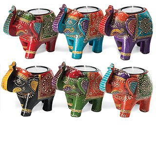 Värmeljushållare i form av indiska elefanter
