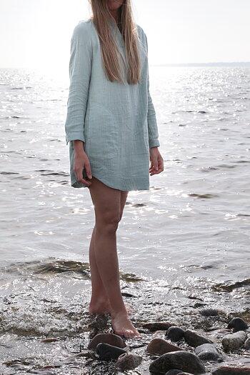 Noa Noa -  Short dress / tunic with long sleeve grey green