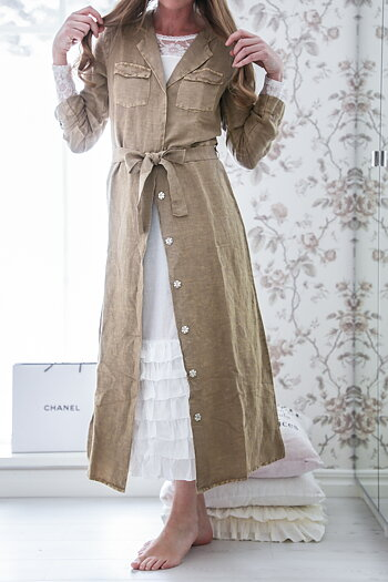 Jeanne d`Arc Living - Lång skjortklänning i linne
