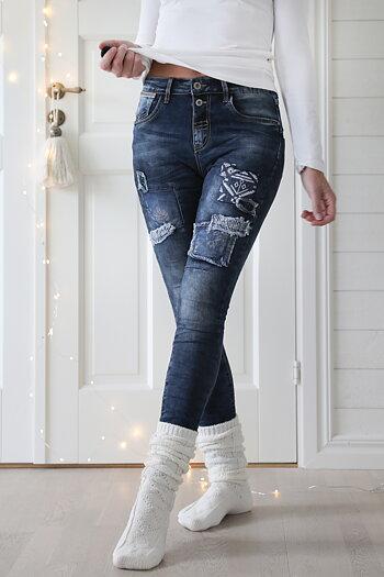 Jewelly - Jeans med lappar blå