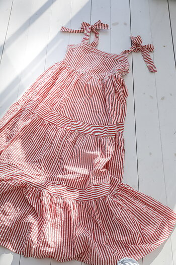 Handpicked - Striped long ruffle dress in red and white