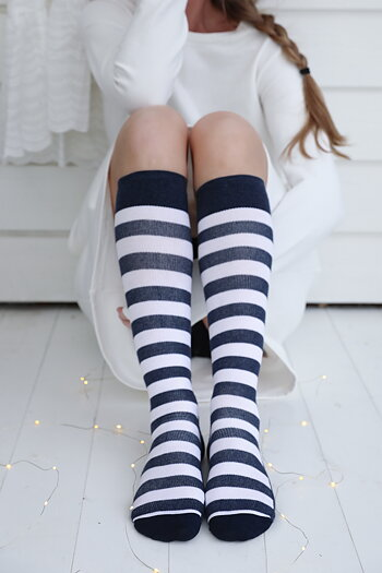 Handpicked - Support socks striped navy/white