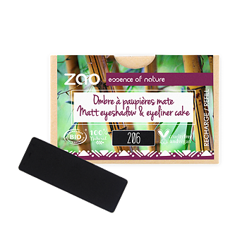 ZAO Refill Rectangle Eye Shadow & Eyeliner Cake 206 Black