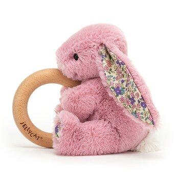 Bitring för baby med gosedjur kanin rosa