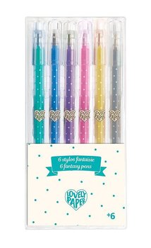6 glitter gel pennor
