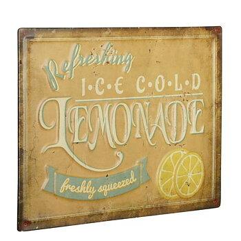 Plåtskylt skylt Lemonade gammaldags skylt upphöjd text reklam shabby chic lantlig stil