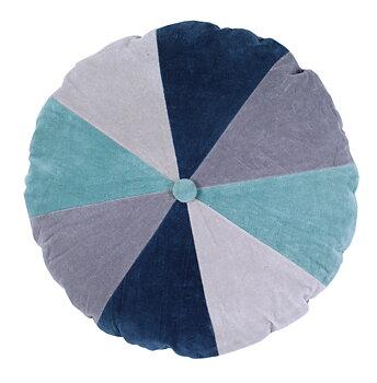 Kuddfodral rund blå sammet shabby chic lantlig stil
