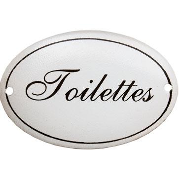 Skylt Toilettes vit oval emaljskylt i lantlig shabby chic stil