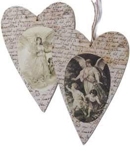 Trähjärta hjärta i trä änglar olika motiv storlekar shabby chic lantlig stil