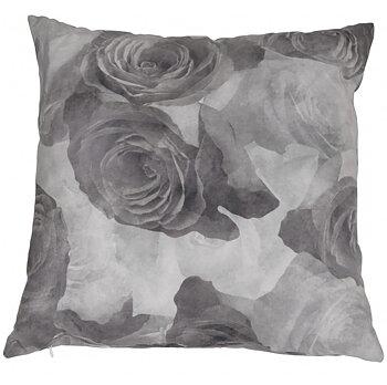 Kuddfodral grå Rosor sammet shabby chic lantlig stil