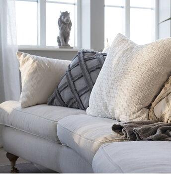 Kuddfodral grå Fringes shabby chic lantlig stil fransk lantstil