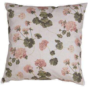 Kuddfodral vit ljusrosa rosa Pelargoner shabby chic lantlig stil