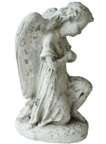 Knäböjande ängel i keramik