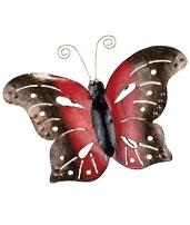 Fjäril handgjord väggdekoration röd smide  vintage shabby chic lantlig stil