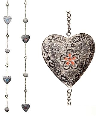 Hjärta långt hänge zinkgrå metall glaskulor trädgårdsdekoration shabby chic lantlig stil