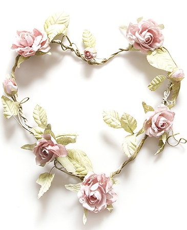 Hjärta rosor rosa shabby chic lantlig stil