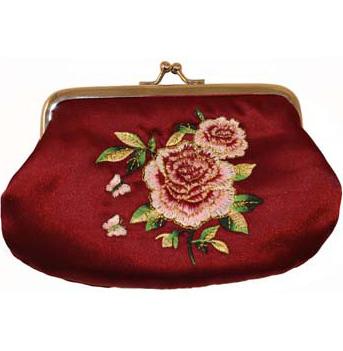 Sminkväska börs portmonä Country Style ros satin romantisk röd