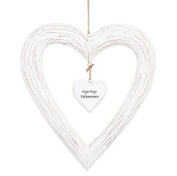Välkommen vit träskylt stort hjärta handskuren shabby chic lantlig stil