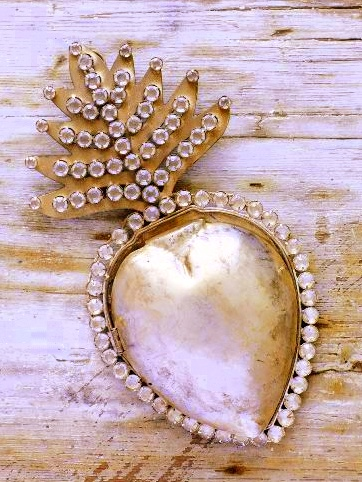 Franskt silverhjärta stort 2:a sort shabby chic fransk lantstil