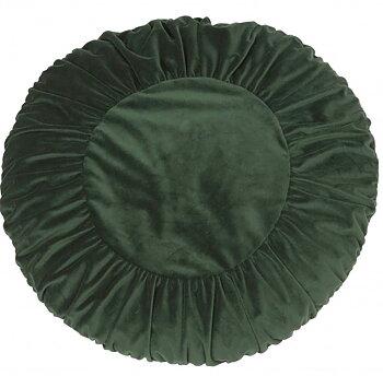 Kuddfodral runt mormor mörkgrön sammet shabby chic lantlig stil