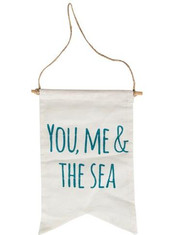 Vimpel YOU, ME & THE SEA flagga shabby chic lantlig stil