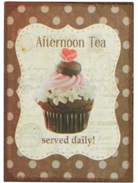 Plåtskylt med magnet Afternoon Tea shabby chic lantlig stil