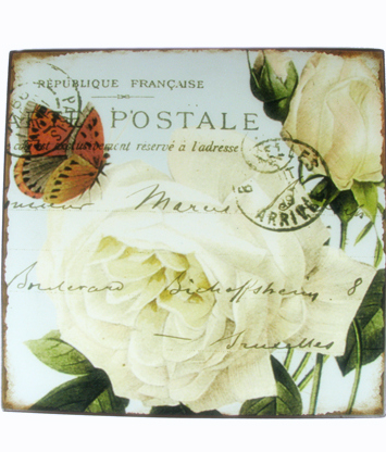 Plåtskylt vita rosor fjäril habby chic lantlig stil