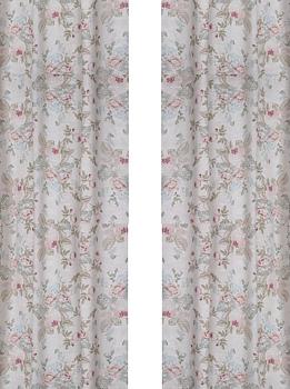 Gardinlängder 2 st rosa dimrosa med rosor shabby chic lantlig stil