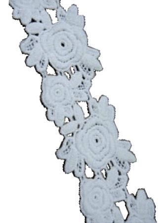 Rosor broderad bred bomullsspets