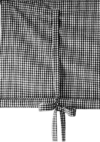 curtain with tieband black and white romantic cottage style